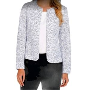 Tahari ASL Jacket White and Blue Floral Lace
